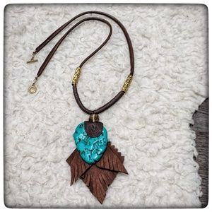 Jewelry - NWOT  ~ Boho Faux Turquoise and Suede Necklace